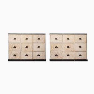 Antike Schränke mit Zink Tischplatten, 2er Set