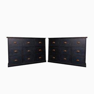 Antique Black Cabinets, Set of 2