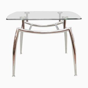 Table Basse en Verre et Chrome, 1980s