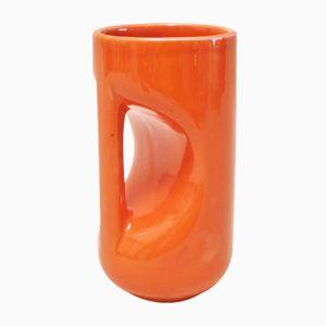 Vaso in ceramica arancione di Enzio Bioli per Il Picchio, anni '60