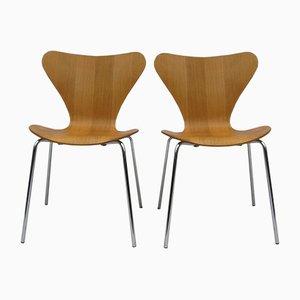 Sedie nr. 3107 di Arne Jacobsen per Frtitz Hansen, 1974, set di 2