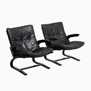 Vintage Siesta Easy Chairs in Black Leather by Ingmar Relling for Westnofa, Set of 2