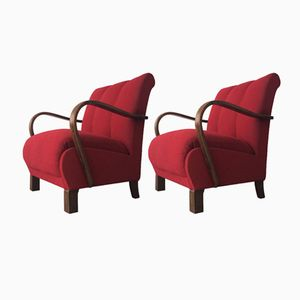 Rote Sessel von Jindřich Halabala für Thonet, 1940er, 2er Set