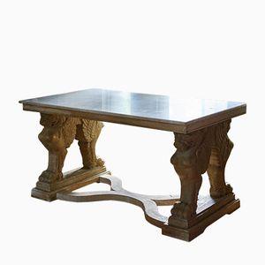 Vintage Italian Oak & Marble Table