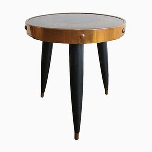 Vintage Black and Brass Side Table