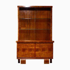 Vintage Art Deco Walnut Veneer Display Cabinet