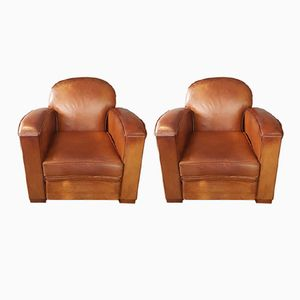 Vintage French Tan Leather Club Chairs, Set of 2