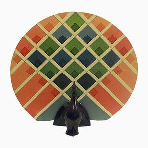 Lampada da tavolo in ceramica a forma di pavone, anni '70