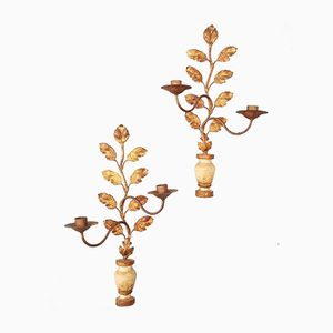 Antique French Painted Wooden Wall Candle Holders, Set of 2