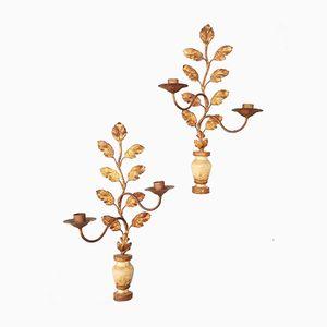 Wandmontierte Antike Französische Kerzenhalter aus Bemaltem Holz, 2er Set