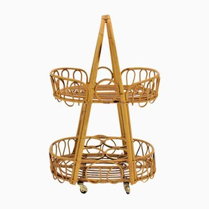 French Rattan Bar Cart, 1950s