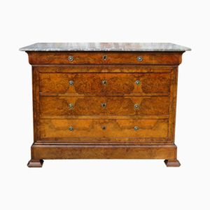 Cassettiera antica in legno di noce smussato con ripiano in marmo