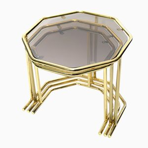 Vintage Brass Nesting Tables, 1970s