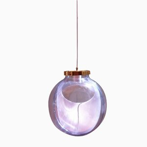 Grande Lampe à Suspension Globe Membrane en Verre de Murano par Toni Zuccheri pour Venini
