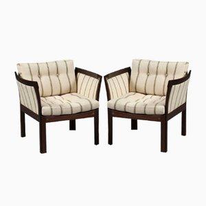 Plexus Armlehnstühle aus Mahagoni & Weißem Bezug von Illum Wikkelsø für CFC Silkeborg, 1960er, 2er Set
