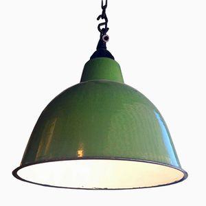 Vintage Green Enameled Suspension Lamp