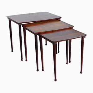 Vintage Scandinavian Nesting Tables in Rio Rosewood from Mobelintarsia