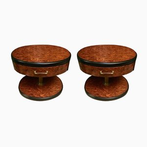 Vintage Bedside Tables in Burl, Set of 2