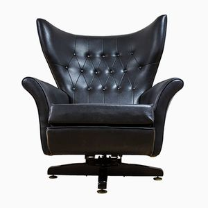 6250 Black Leather Wingbacked Blofeld Swivel Chair by Paul Conti for G Plan, 1970s