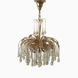 6-Light Chandelier with Glass Drops from Palwa, 1970s