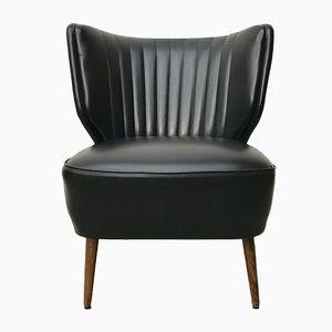 Vintage Cocktail Chair aus Schwarzem Vinyl