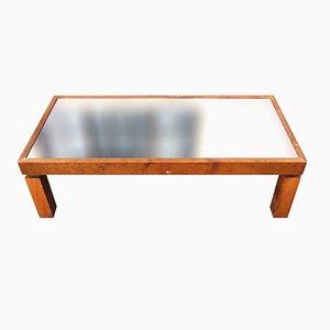 Table Basse Vintage en Bois avec Plateau en Miroir Noir