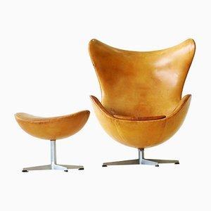 Egg Chair und Ottomane aus Leder von Arne Jacobsen für Fritz Hansen, 1960er