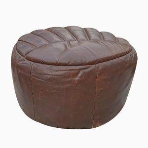 Brown Leather Pouf, 1960s