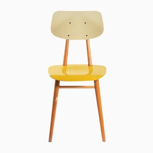 Tschechoslowakischer Stuhl in Gelb & Creme von TON, 1960er