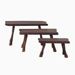 Tavolini a incastro vintage creati da un tronco