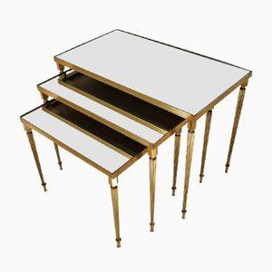 Tavolini a incastro in ottone e vetro specchiato, 1969