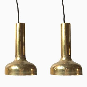 Mid-Century Swedish Brass Pendant Lights, 1960s, Set of 2
