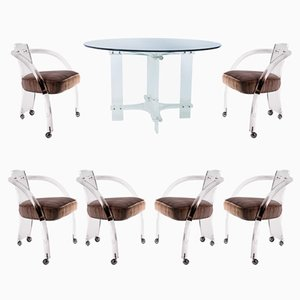 Lucite Dining Table & 6 Chairs Set by Charles Hollis Jones, 1960s