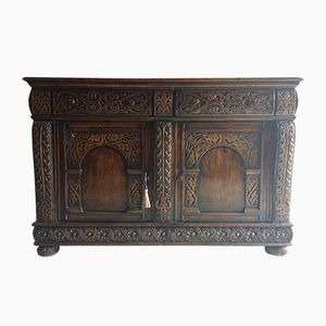 Antique Sideboard in Carved Oak, 1850s