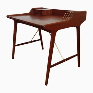 Mid-Century Danish Teak and Brass Writing Desk by Svend Aage Madsen for KK Furniture