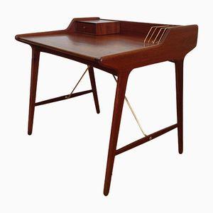 Scrivania Mid-Century in teak ed ottone di Svend Aage Madsen per KK Furniture, Danimarca