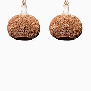 Ceramic Perforated Pendants from Sejer Studio Denmark, 1960s, Set of 2