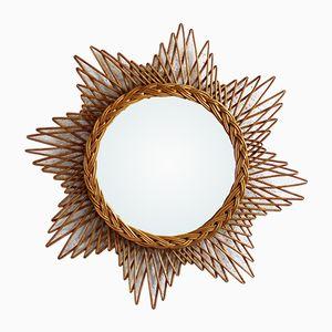 Vintage Spiegel mit Rahmen aus Korbgeflecht