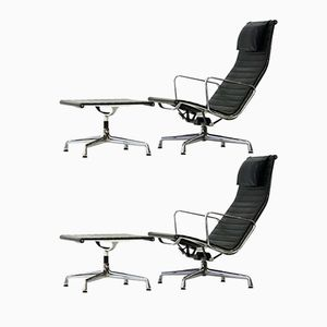 EA 124 Leather Lounge Chairs & EA 125 Ottomans by Charles & Ray Eames for Vitra, 1975, Set of 4