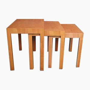 Vintage Cherry Veneered Nesting Tables by Rex Raab for Wilhelm Renz