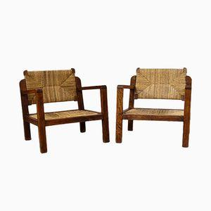 Poltrone vintage in legno e vimini, set di 2