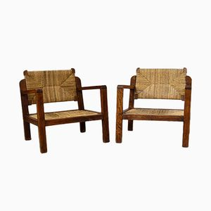 Vintage Wooden & Mulching Armchairs, Set of 2