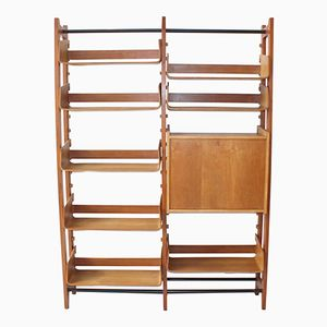 Vintage Italian Storage Unit with Curved Birch Shelves