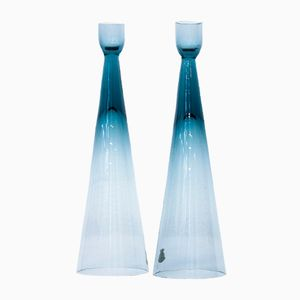 Glass Candlesticks by Bengt Edenfalk for Skruf, 1960s, Set of 2