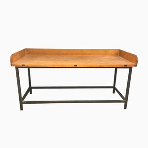 Vintage Black Metal and Beech Bakery Table
