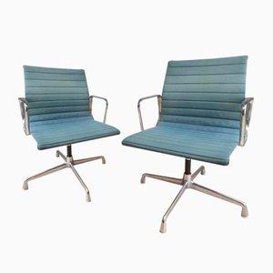 Sedie da ufficio EA108 in alluminio e stoffa color petrolio di Charles & Ray Eames per Vitra