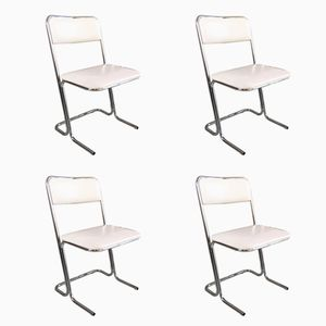 White Vinyl and Chrome Chairs, 1960s, Set of 4