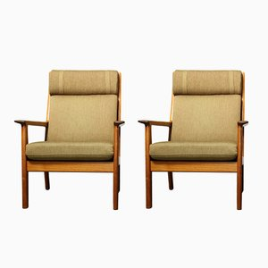 65A Highback Teak Lounge Chairs by Hans J. Wegner for Getama, 1970s, Set of 2