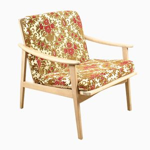 French Lounge Chair in Blonde Wood, 1960s