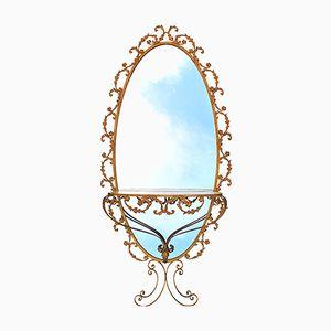 Goldfarbener Ovaler Spiegel und Konsole von G. Battista, 1950er